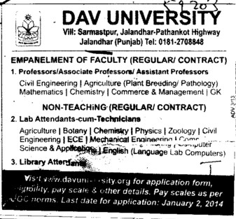 Lab attendants cum Technicians (DAV University)