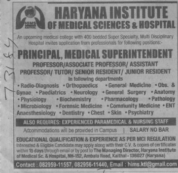 Principal and Medical Superintendent (RK Bansal Medical College and Hospital)