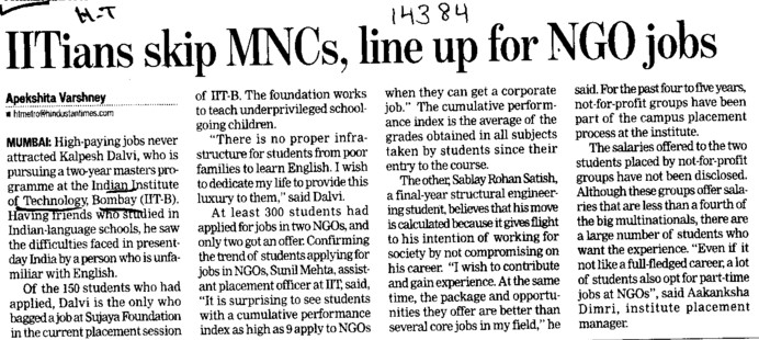 IITians skip MNCs, line up for NGO jobs (Indian Institute of Technology (IITB))