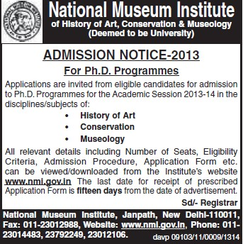 PhD Programme (National Museum Institute of History of Art Conservation and Musicology (NMIHACM))