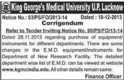 Purchase of equipments (KG Medical University Chowk)