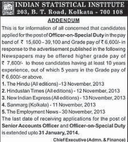 Officer on Special duty (Indian Statistical Institute)