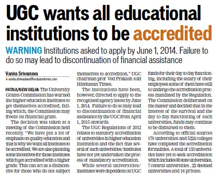 UGC wants all educational institutions to be accredited (University Grants Commission (UGC))