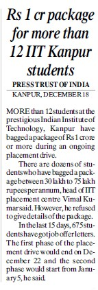 Rs 1 cr package for more than 12 students (Indian Institute of Technology (IITK))