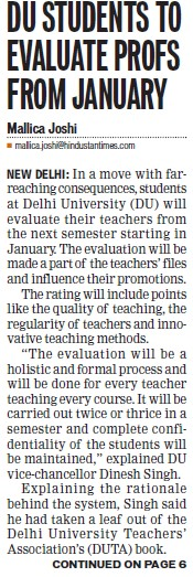 Students to evaluate profs from january (Delhi University)