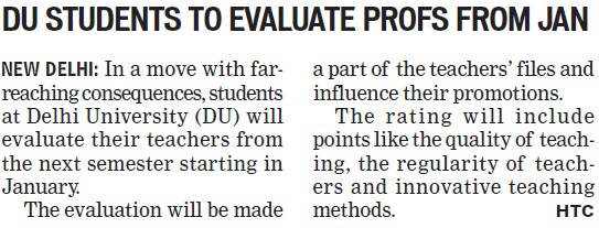 DU students to evaluate profs from Jan (Delhi University)