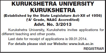 Unspecified teaching posts (Kurukshetra University)