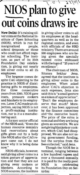 NIOS plan to give out coins draws ire (National Open School (NOS))