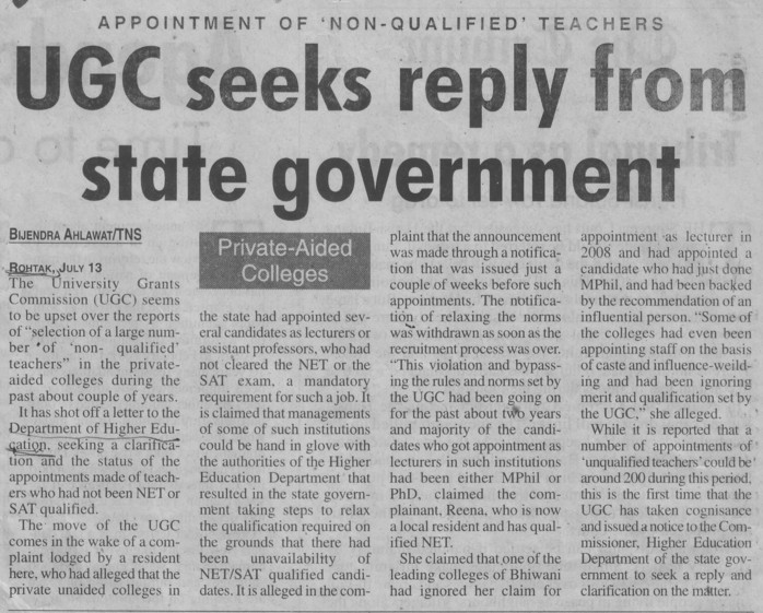 UGC seeks reply from state govt (Department of Higher Education Haryana)