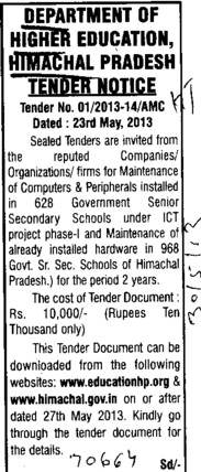 Maintenance of computers (Directorate of Higher Education Himachal Pradesh)