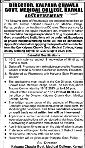 Contractual faculty (Kalpana Chawla Medical College)