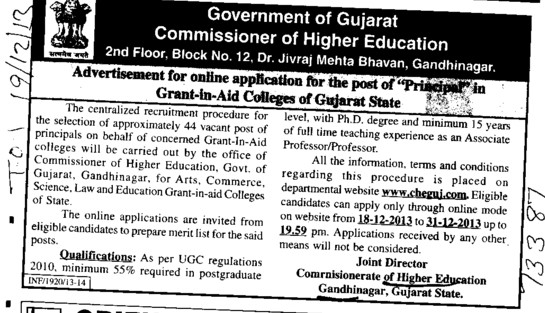Principal in Grant in Aid College (Commissioner of Higher Education (CHE Gujarat))
