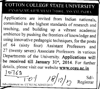 Assistant Professor (Cotton College Panbazar)