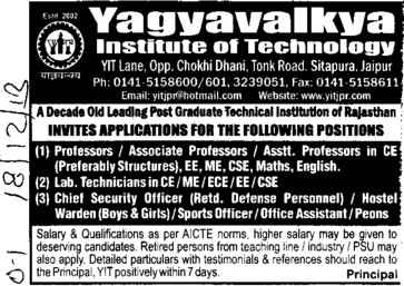 Asstt Professor for PCM (Yagyavalkya Institute of Technology (YIT) Sitapura)