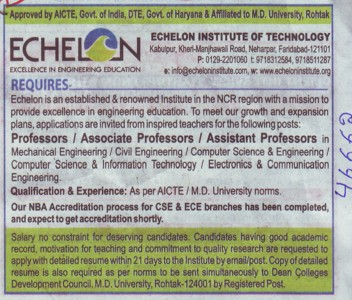 Asstt Professor (Echelon Institute of Technology)