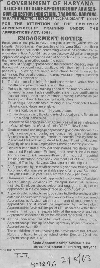 Attention for Employer Apprenticeship Training (Directorate of Industrial Training and Vocational Education Haryana)