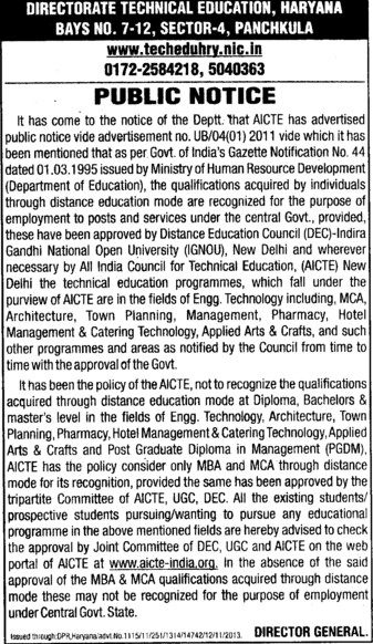 Posts under Central Govt Provided (Directorate of Technical Education Haryana)