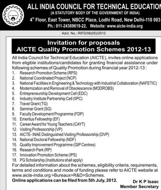 AICTE Quality Promotion Schemes 2012 (All India Council for Technical Education (AICTE))