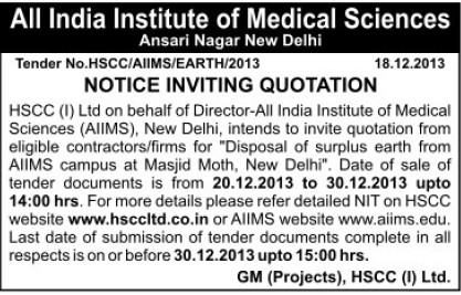 Disposal of surplus earth (All India Institute of Medical Sciences (AIIMS))