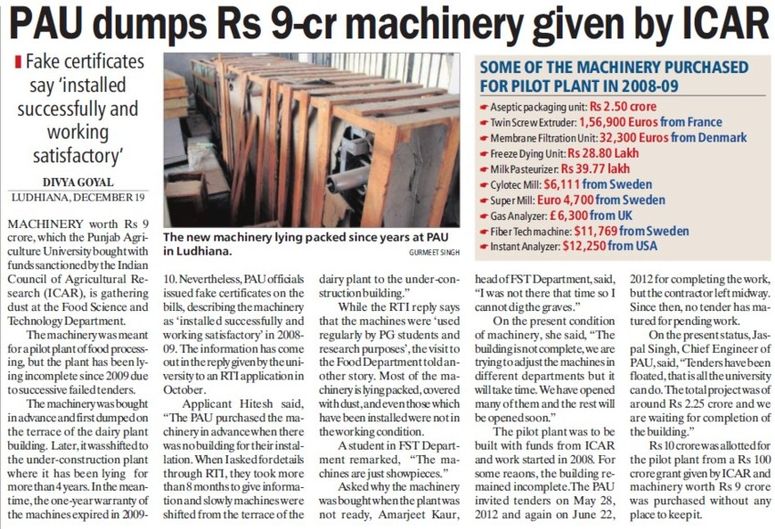PAU dumps Rs 9 cr machinery given by ICAR (Punjab Agricultural University PAU)