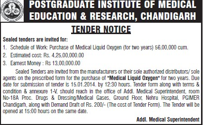 Supply of Medical Liquid oxygen (Post-Graduate Institute of Medical Education and Research (PGIMER))
