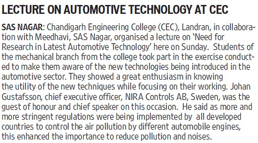 Lecture on automotive tech (Chandigarh Engineering College (CEC))