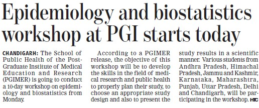 Epidemiology and biostatics workshop at PGI (Post-Graduate Institute of Medical Education and Research (PGIMER))