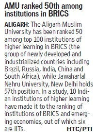 AMU ranked 50th among institutions in BRICS (Aligarh Muslim University (AMU))