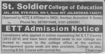 ETT Course (St Soldier College of Education)
