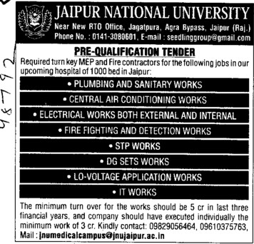 Plumbing and sanitation work (Jaipur National University)