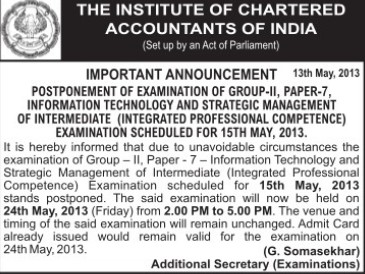 Postponed of examination (Institute of Chartered Accountants of India (ICAI))