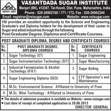 Post Graduate Diploma in Sugar Technology (Vasantdada Sugar Institute (VSI))