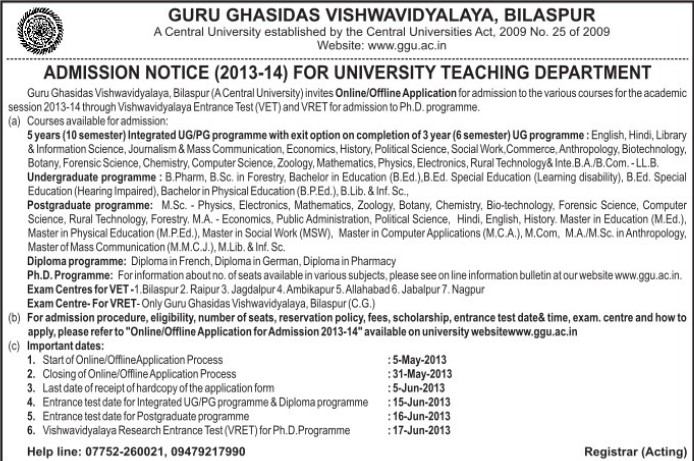 UG and PG courses (Guru Ghasidas University)