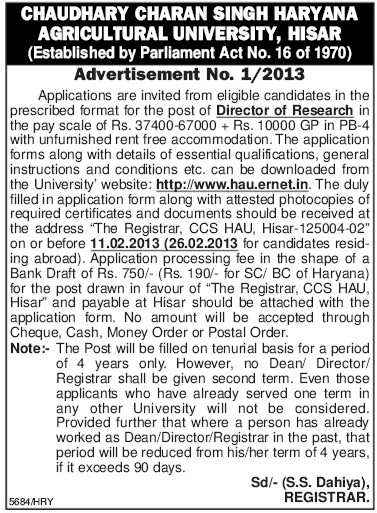 Director of Research (Ch Charan Singh Haryana Agricultural University (CCSHAU))