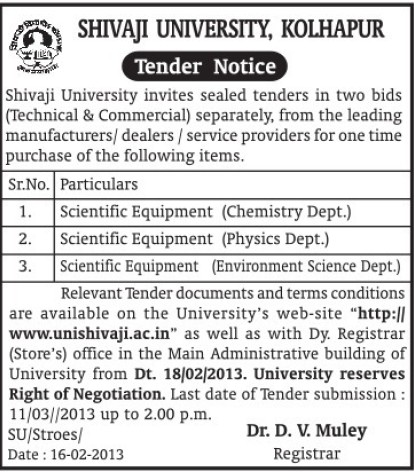 Scientific equipments (Shivaji University)