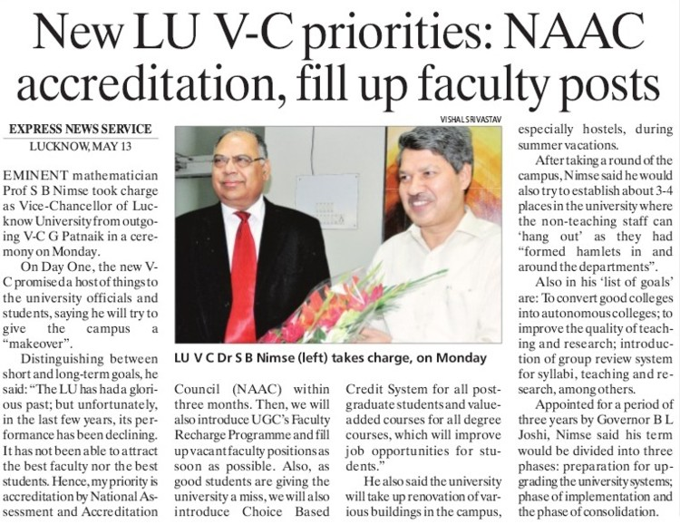 New LU VC priorities, NAAC (Lucknow University)