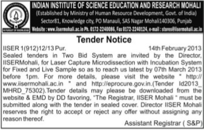 Supply of Laser capture microdissection with incubation system (Indian Institute of Science Education and Research (IISER))