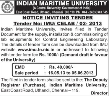 Installation of Lab equipments (Indian Maritime University)