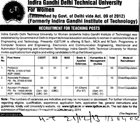 Asstt Professor (Indira Gandhi Delhi Technical University for Women (IGDTUW IGIT))