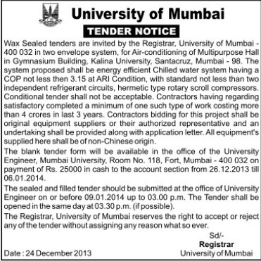 Supply of AC for MPH (University of Mumbai (UoM))