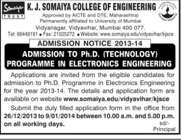 PhD Programme (KJ Somaiya College of Engineering (KJSCE))