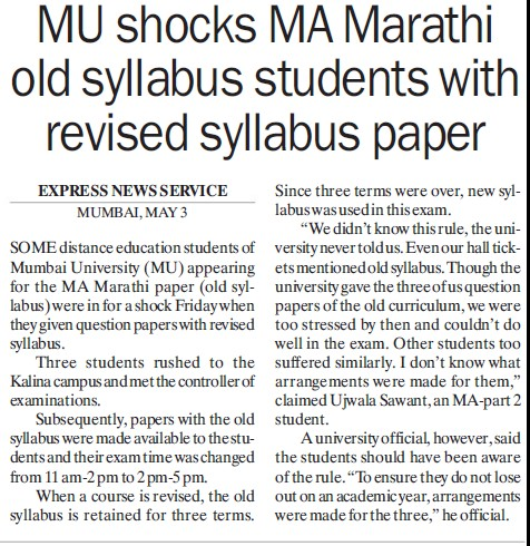 MU shocks MA Marathi old syllabus students with revised syllabus paper (University of Mumbai (UoM))