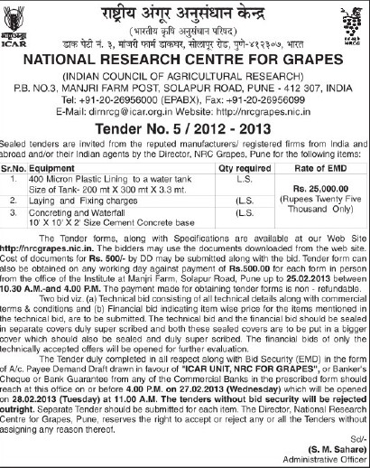 Supply of Concreting and Waterfall (National Research Centre for Grapes (NRCG))
