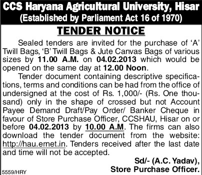Purchase of A Twill Bags (Ch Charan Singh Haryana Agricultural University (CCSHAU))