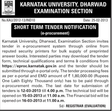 Supply of Answer Books (Karnatak University)