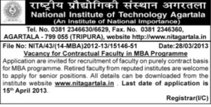 Faculty to teach MBA (National Institute of Technology NIT)