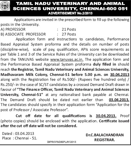 Asstt and Asso Professo (Tamil Nadu Veterinary and Animal Sciences University, MADRAS VETERINARY COLLEGE)