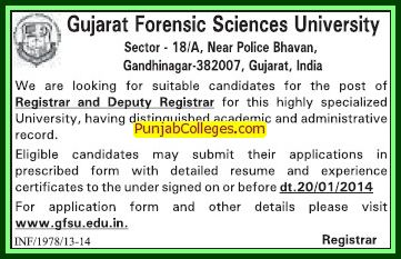 Deputy Registrar (Gujarat Forensic Sciences University)