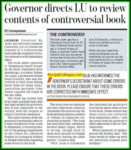 Governor directs LU to review contents of controversial book (Lucknow University)