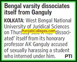 Bengal Varsity dissociates itself from Ganguly (West Bengal National University of Juridical Sciences)